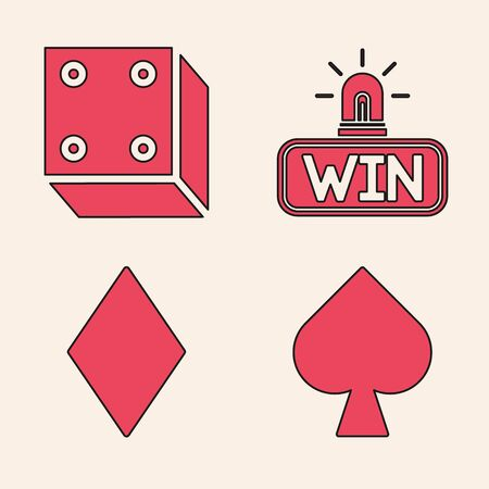 Set Playing card with spades symbol, Game dice, Casino win and Playing card with diamonds symbol icon. Vector