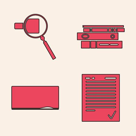 Set Exam sheet with check mark, Magnifying glass, Office folders with papers and documents and Chalkboard icon. Vector