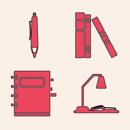 Placez le lieu de travail avec la lampe de table et le livre ouvert, le stylo, les dossiers de bureau avec des papiers et des documents et l'icône de carnet. Vecteur