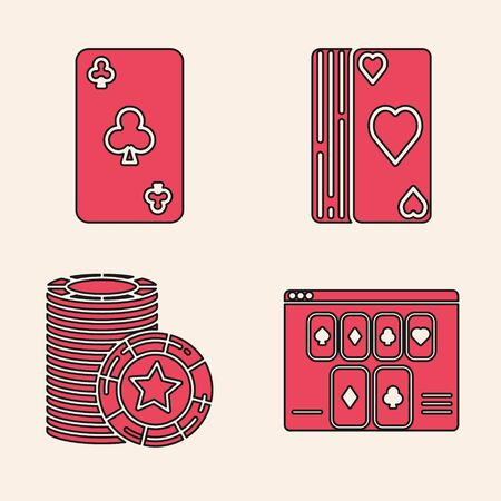 Set Online poker table game, Playing card with clubs symbol, Deck of playing cards and Casino chips icon. Vector Ilustrace