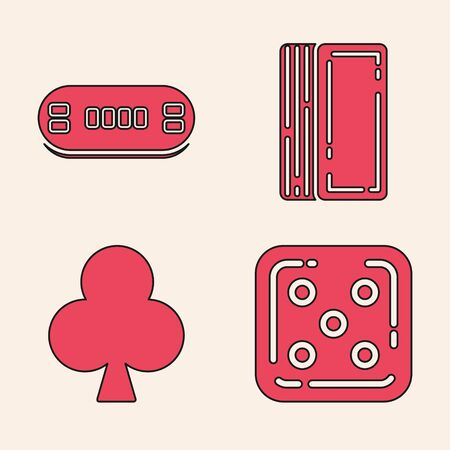 Set Game dice, Poker table, Deck of playing cards and Playing card with clubs symbol icon. Vector