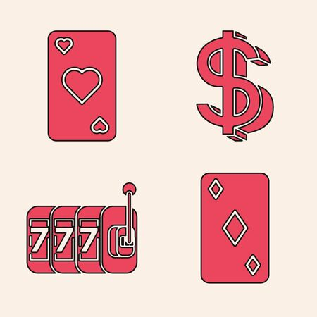 Set Playing card with diamonds symbol, Playing card with heart symbol, Dollar symbol and Slot machine with lucky sevens jackpot icon. Vector