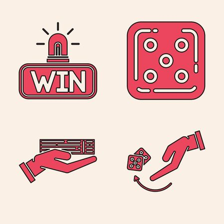Set Human hand throwing game dice, Casino win, Game dice and Hand holding deck of playing cards icon. Vector Ilustrace