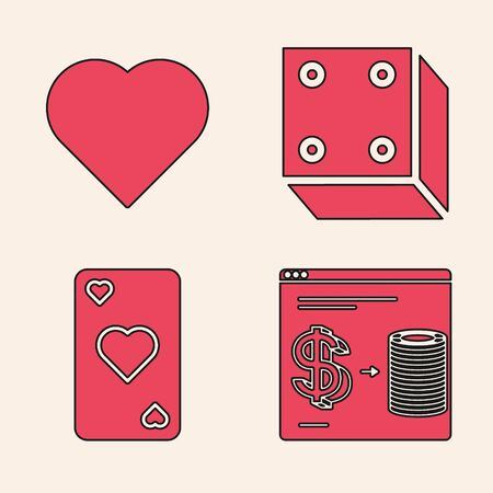 Set Online casino chips exchange on stacks of dollars, Playing card with heart symbol, Game dice and Playing card with heart symbol icon. Vector Ilustrace