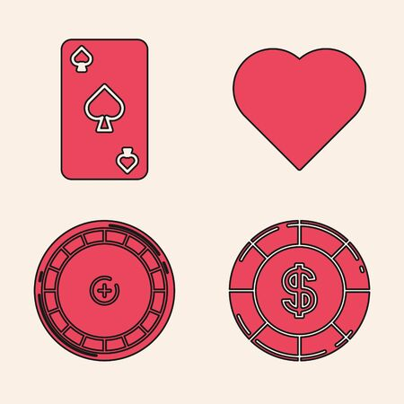 Set Casino chip with dollar symbol, Playing card with spades symbol, Playing card with heart symbol and Casino roulette wheel icon. Vector