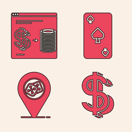 Set Dollar symbol, Online casino chips exchange on stacks of dollars, Playing card with spades symbol and Casino location icon. Vector