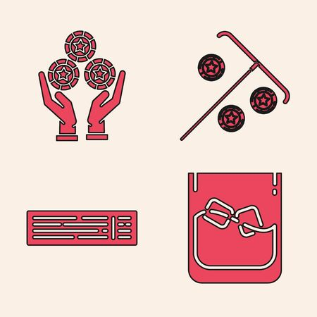 Set Glass of whiskey and ice cubes, Hand holding casino chips, Stick for chips and Deck of playing cards icon. Vector