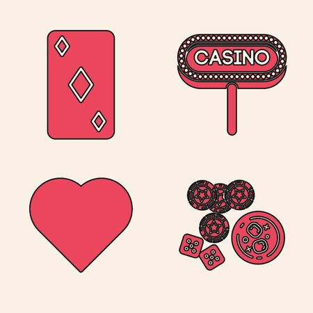 Set Casino chips, game dice and glass of whiskey with ice cubes, Playing card with diamonds symbol, Casino signboard and Playing card with heart symbol icon. Vector