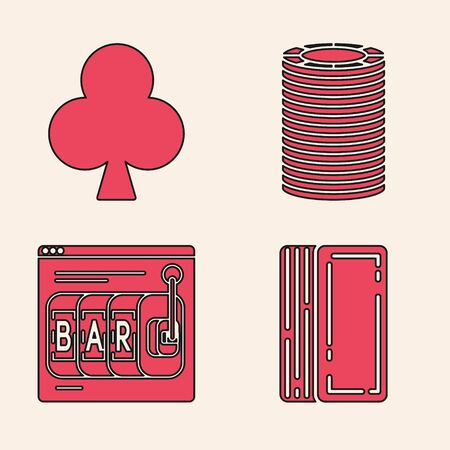 Set Deck of playing cards, Playing card with clubs symbol, Casino chips and Online slot machine icon. Vector
