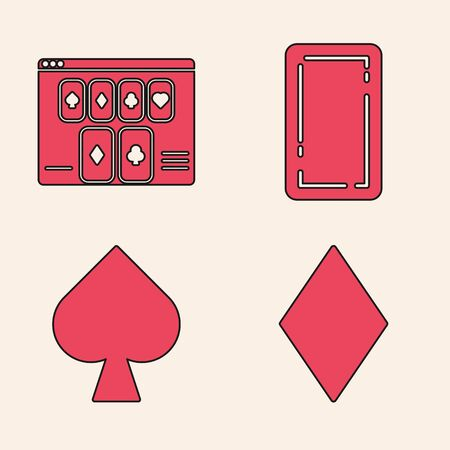 Set Playing card with diamonds symbol, Online poker table game, Playing card back and Playing card with spades symbol icon. Vector