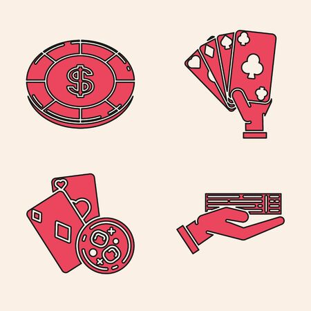 Set Hand holding deck of playing cards, Casino chip with dollar symbol, Hand holding playing cards and Playing cards and glass of whiskey with ice cubes icon. Vector