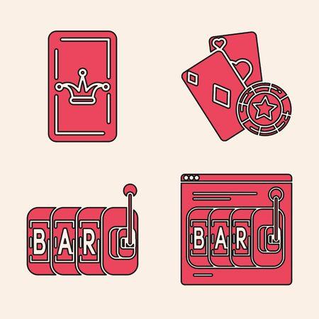 Set Online slot machine, Joker playing card, Casino chip and playing cards and Slot machine icon. Vector