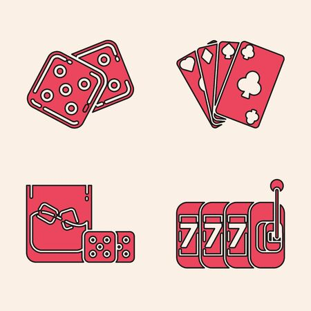 Set Slot machine with lucky sevens jackpot, Game dice, Playing cards and Game dice and glass of whiskey with ice cubes icon. Vector