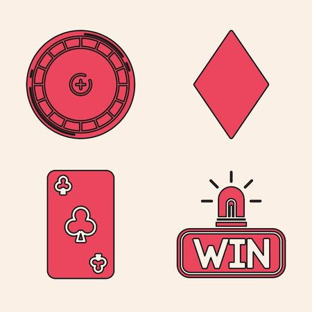 Set Casino win, Casino roulette wheel, Playing card with diamonds symbol and Playing card with clubs symbol icon. Vector