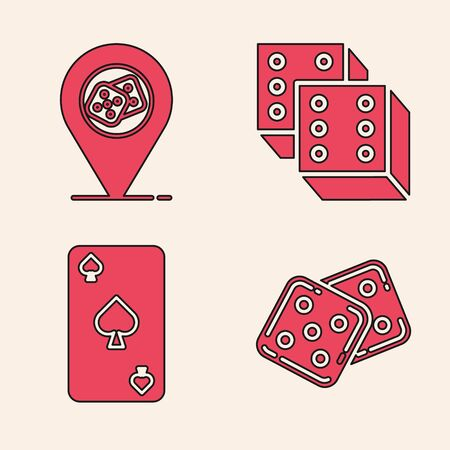Set Game dice, Casino location, Game dice and Playing card with spades symbol icon. Vector