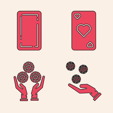 Set Hand holding casino chips, Playing card back, Playing card with heart symbol and Hand holding casino chips icon. Vector