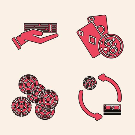 Set Casino chips exchange on stacks of dollars, Hand holding deck of playing cards, Playing cards and glass of whiskey with ice cubes and Casino chips icon. Vector Ilustrace