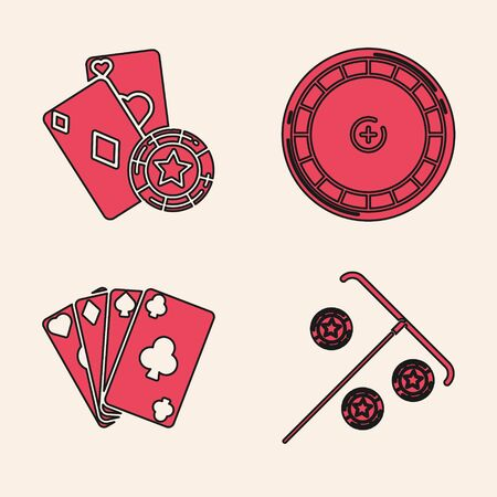Set Stick for chips, Casino chip and playing cards, Casino roulette wheel and Playing cards icon. Vector Ilustrace