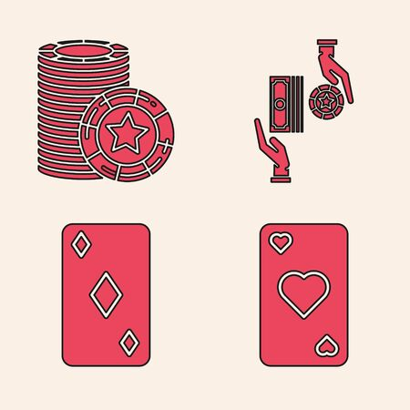 Set Playing card with heart symbol, Casino chips, Casino chips exchange on stacks of dollars and Playing card with diamonds symbol icon. Vector