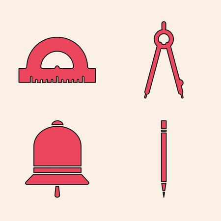 Set Pencil with eraser, Protractor grid for measuring degrees, Drawing compass and Ringing bell icon. Vector