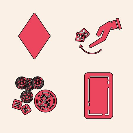 Set Playing card back, Playing card with diamonds symbol, Human hand throwing game dice and Casino chips, game dice and glass of whiskey with ice cubes icon. Vector