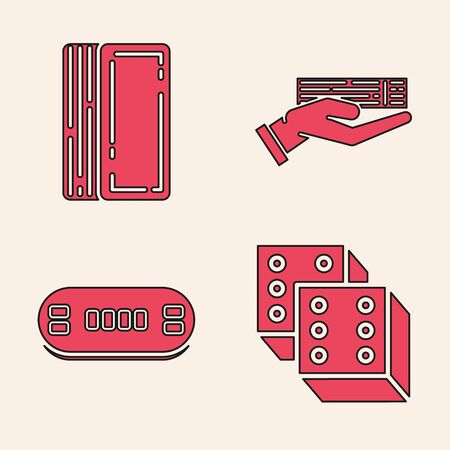 Set Game dice, Deck of playing cards, Hand holding deck of playing cards and Poker table icon. Vector