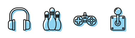 Set line Gamepad, Headphones, Bowling pin and Joystick for arcade machine icon. Vector