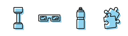 Set line Fitness shaker, Dumbbell, 3D cinema glasses and Piece of puzzle icon. Vector