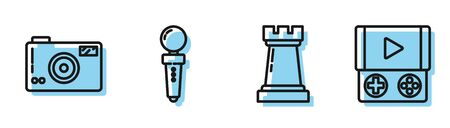Set line Chess symbol, Photo camera, Joystick for arcade machine and Portable video game console icon. Vector