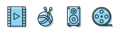 Set line Stereo speaker, Play Video, Yarn ball with knitting needles and Film reel icon. Vector