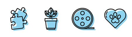 Set line Film reel, Piece of puzzle, Flowers in pot and Heart with animals footprint icon. Vector