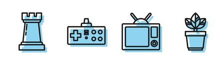 Set line Television, Chess symbol, Gamepad and Flowers in pot icon. Vector Ilustracja