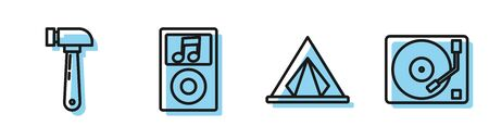 Set line Tourist tent, Hammer, Music player and Vinyl player with a vinyl disk icon. Vector