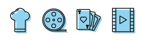 Set line Playing card with heart symbol, Chef hat, Film reel and Play Video icon. Vector Ilustracja