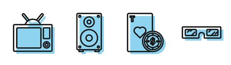 Set line Casino chip and playing cards, Television, Stereo speaker and 3D cinema glasses icon. Vector Ilustracja