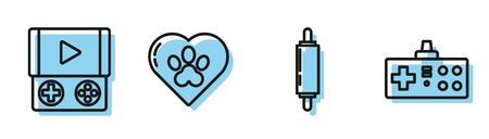 Set line Rolling pin, Portable video game console, Heart with animals footprint and Gamepad icon. Vector