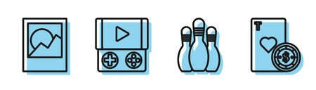 Set line Bowling pin, Photo frames, Portable video game console and Casino chip and playing cards icon. Vector