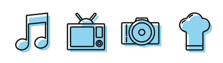 Set line Photo camera, Music note, tone, Television and Chef hat icon. Vector
