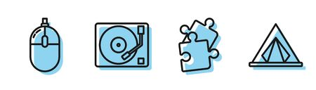 Set line Piece of puzzle, Computer mouse, Vinyl player with a vinyl disk and Tourist tent icon. Vector