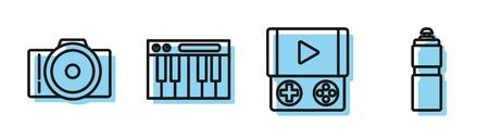 Set line Portable video game console, Photo camera, Music synthesizer and Fitness shaker icon. Vector Ilustracja