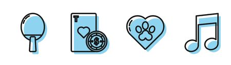 Set line Heart with animals footprint, Racket for playing table tennis, Casino chip and playing cards and Music note, tone icon. Vector