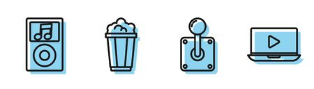 Set line Joystick for arcade machine, Music player, Popcorn in cardboard box and Online play video icon. Vector