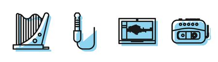Set line Sound or audio recorder on laptop, Harp, Audio jack and Music tape player icon. Vector
