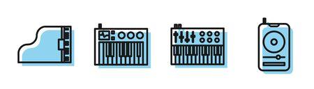 Set line Music synthesizer, Grand piano, Music synthesizer and Music player icon. Vector