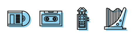 Set line Microphone, Vinyl disk, Retro audio cassette tape and Harp icon. Vector