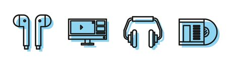 Set line Headphones, Air headphones, Video recorder or editor software on monitor and Vinyl disk icon. Vector
