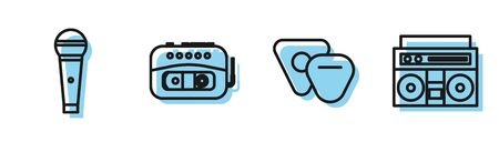 Set line Guitar pick, Microphone, Music tape player and Home stereo with two speakers icon. Vector