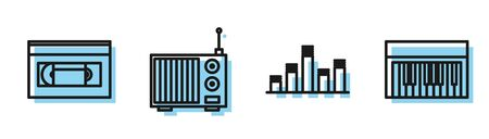 Set line Music equalizer, VHS video cassette tape, Radio with antenna and Music synthesizer icon. Vector Ilustracja