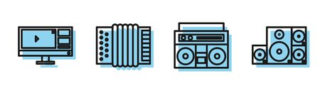 Set line Home stereo with two speakers, Video recorder or editor software on monitor, Musical instrument accordion and Stereo speaker icon. Vector