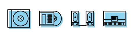 Set line Stereo speaker, CD or DVD disk, Vinyl disk and Piano icon. Vector